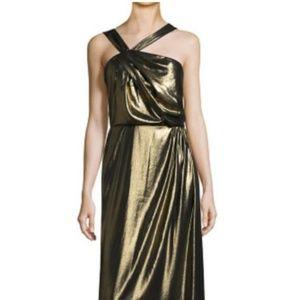 Parker Gold Selena Asymmetric Sleeveless Gown Form